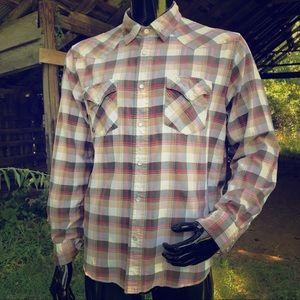 American Eagle men's medium tan western shirt
